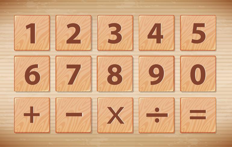 Número de fuente de madera símbolo