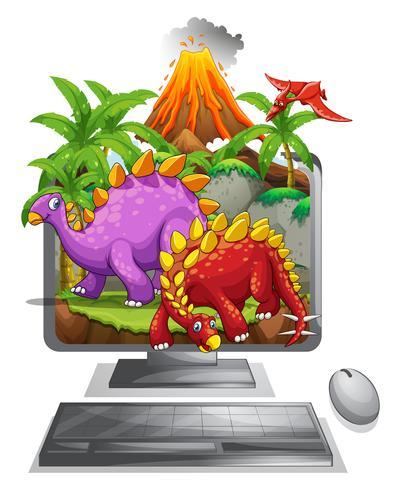 Computerscherm met dinosaurussen en vulkaan