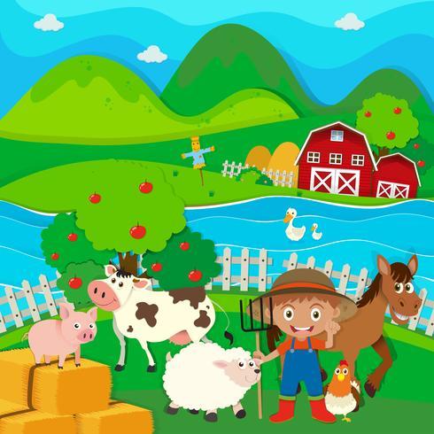 Bonde och husdjur på gården