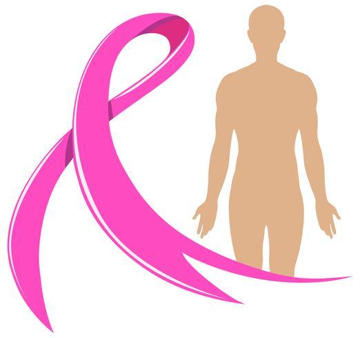 Menselijk lichaam en roze lint