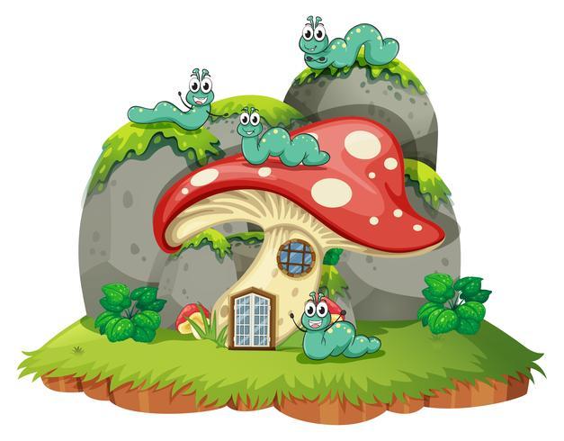 Casa de setas con cuatro orugas. vector