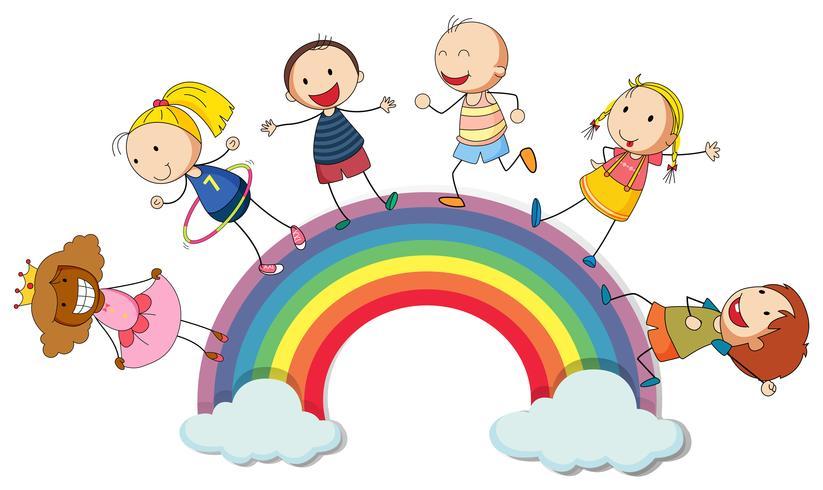 Niños de pie en el arcoiris vector