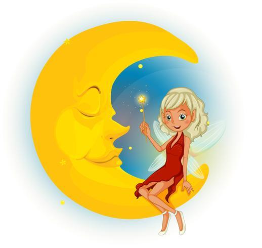 Un hada con un vestido rojo al lado de la luna dormida.
