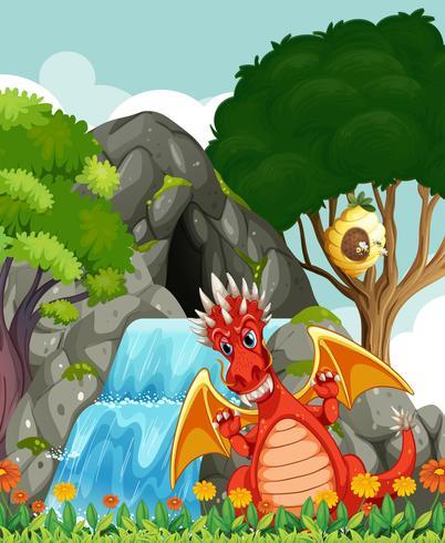 Draak door de waterval en de grot
