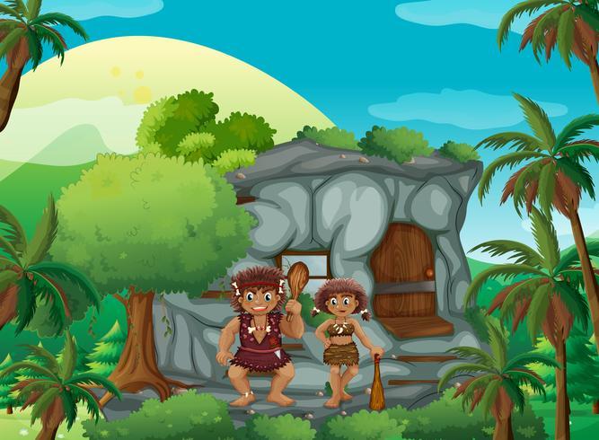 Caverna gente che vive nella casa di pietra