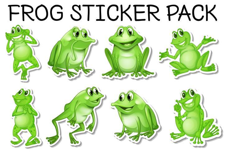 Sticker set of green frogs