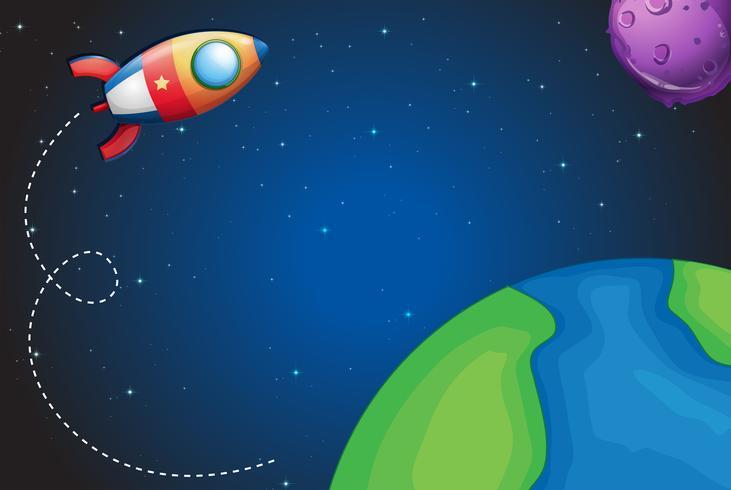 Raumschiff fliegt über die Erde