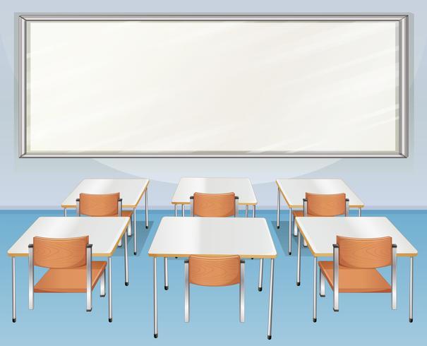 Aula llena de sillas y mesas vector