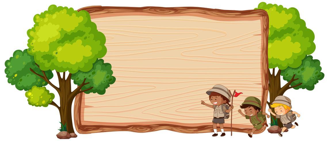 Camping niños en banner de madera vector
