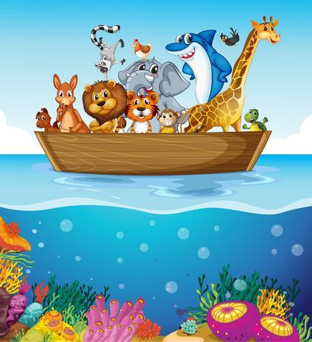 Un barco en el mar con animales. vector