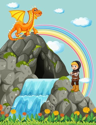 Chevalier et dragon à la cascade