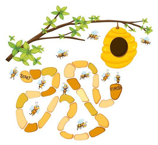 Plantilla de juego con abejas y fondo de colmena.