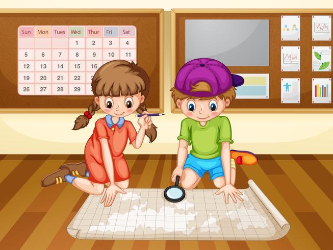 Niño y niña mirando el mapa vector