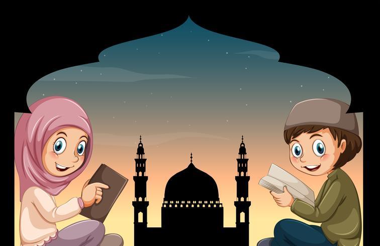 Libri di lettura ragazzo musulmano e ragazza