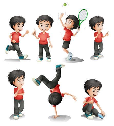 Diferentes atividades de um menino
