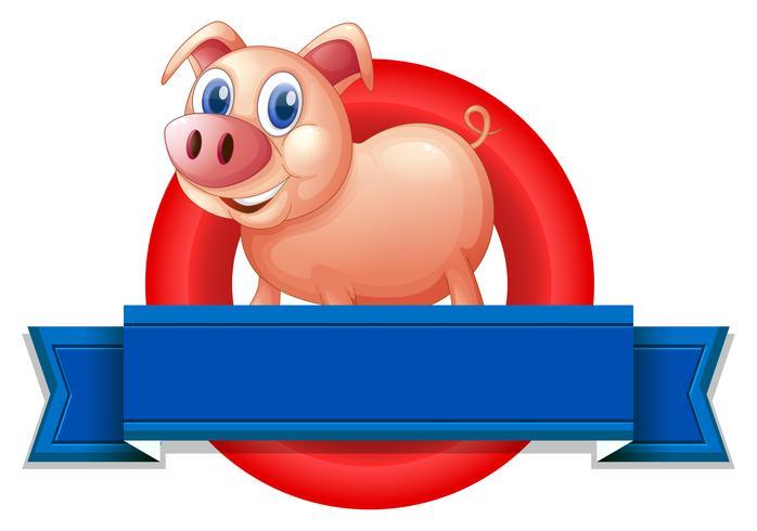 Una etiqueta vacía con un cerdo. vector