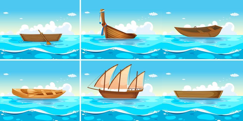 Ocean scenes with boats on water vector
