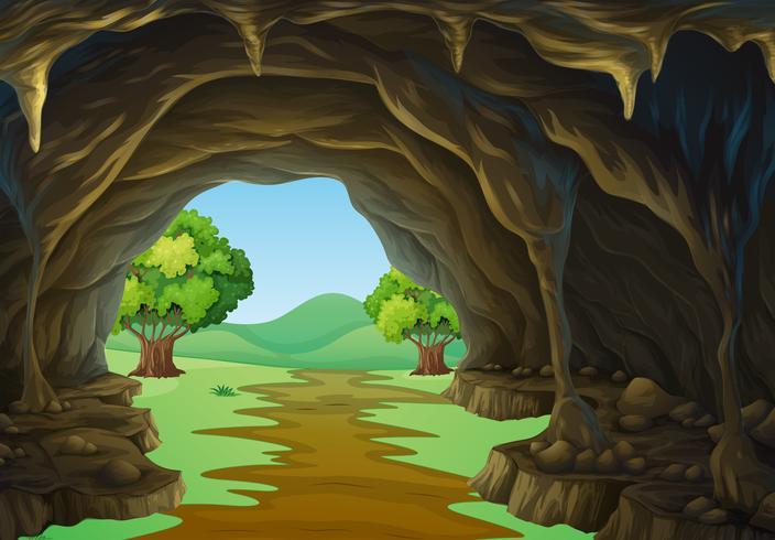 Escena de la naturaleza de la cueva y el camino.