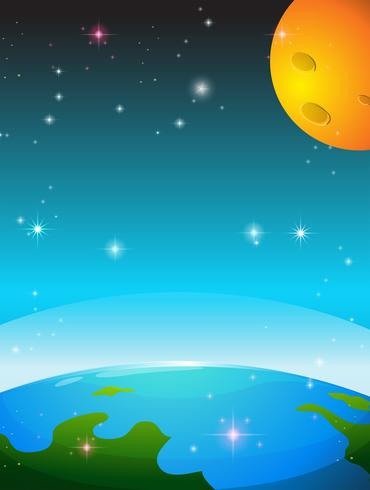 Ruimtescène met aarde en maan