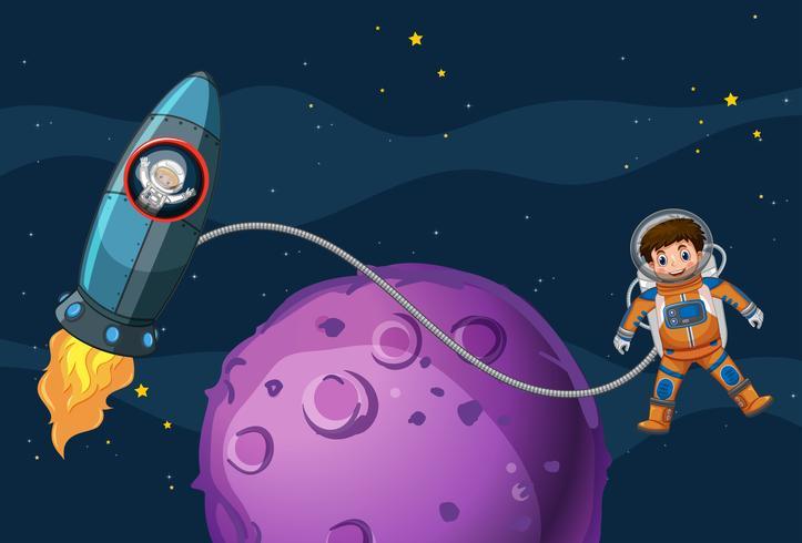 Astronautas volando en el espacio. vector