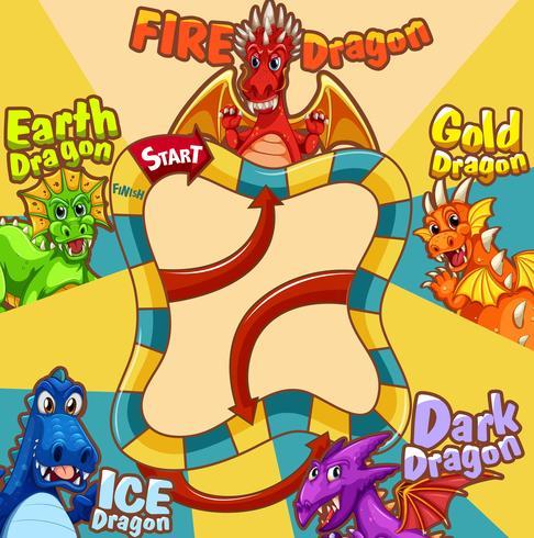 Plantilla de juego con diferentes tipos de dragón. vector