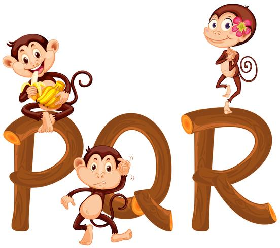 Scimmie sull'alfabeto inglese