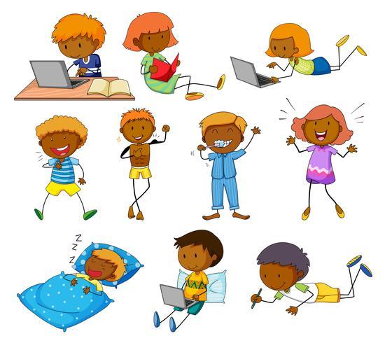 Niño y niña haciendo diferentes actividades. vector