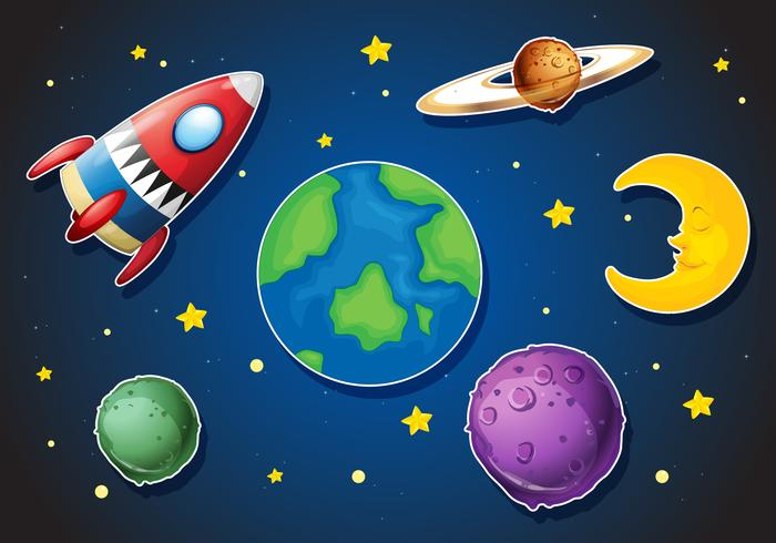 Nave espacial y diferentes planetas en galaxia.