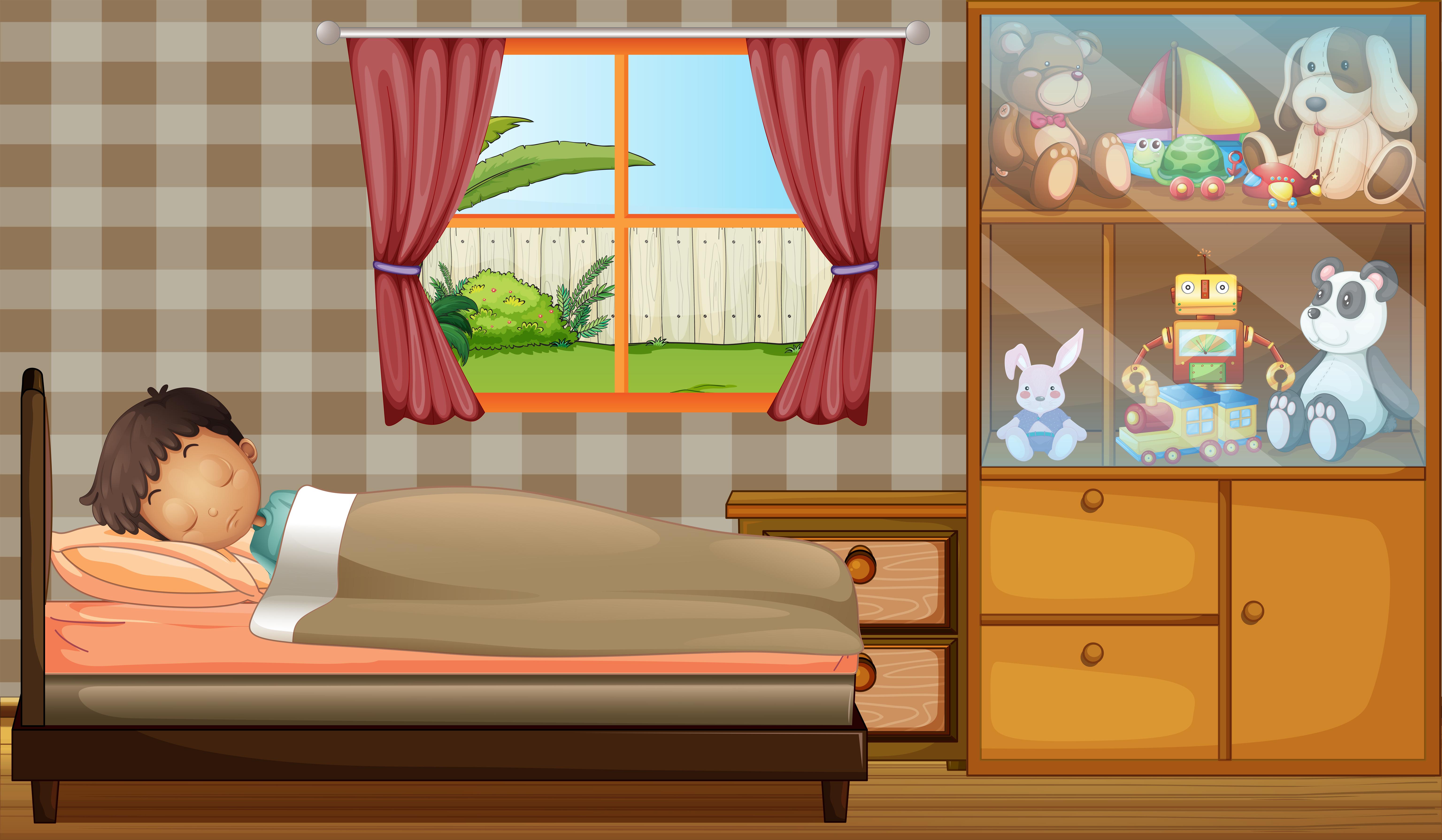 A boy sleeping in his bedroom - Download Free Vectors