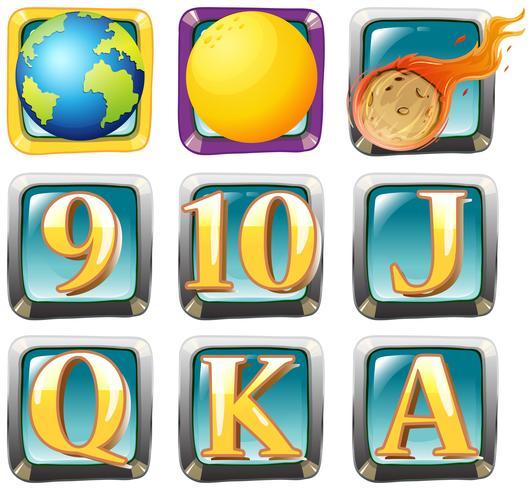 Planeter och bokstäver på kvadratiska märken