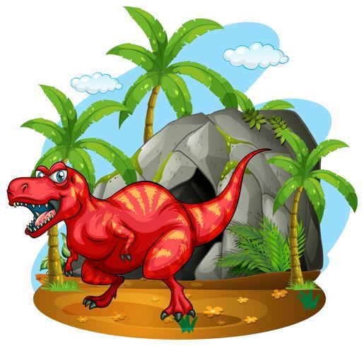 Dinosaurus die zich voor de grot bevindt