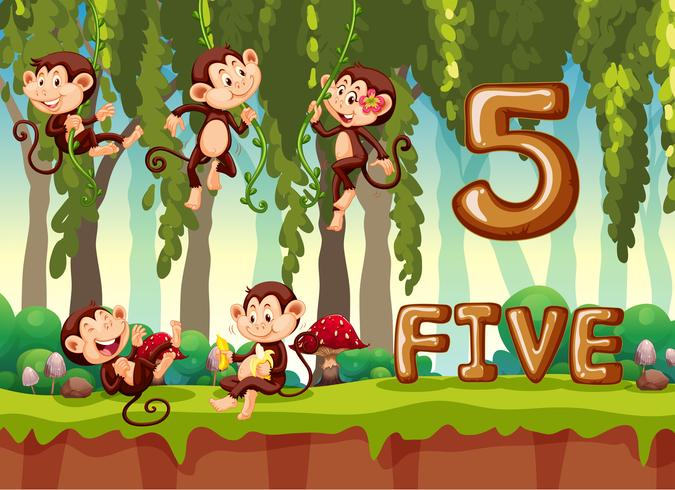 Cinco monos en la selva vector