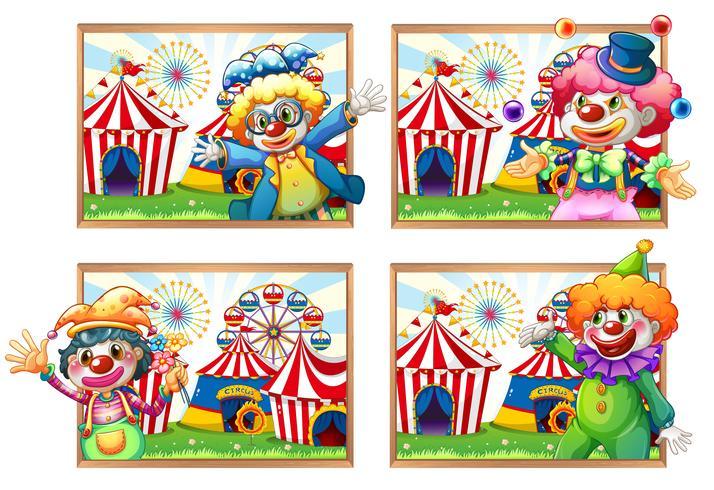 Vier fotokader van clowns bij het circus