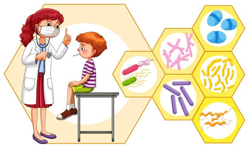 Médico y paciente con virus. vector