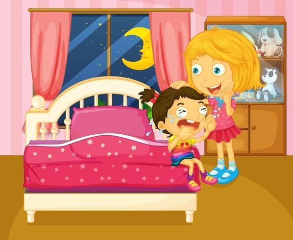 Uma menina chorando ao lado de sua irmã dentro do quarto