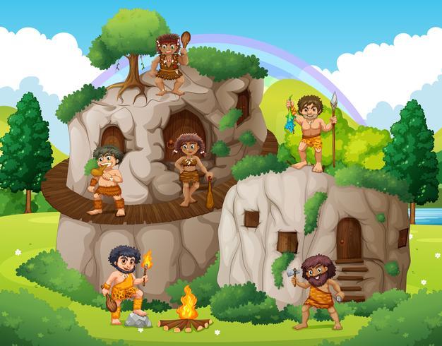 Höhlenmenschen, die im Steinhaus leben