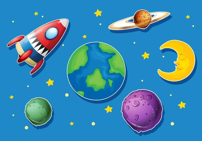 Raket och många planeter i rymden