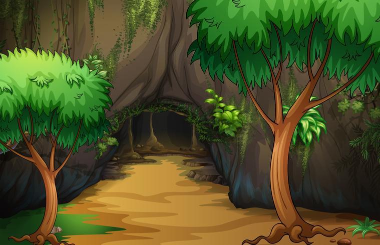 Una cueva en el bosque vector