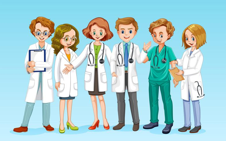 A Doctor Team on Blue Background vector