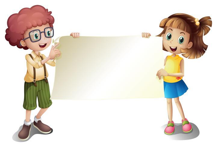 Una niña y un niño sosteniendo un letrero vacío.