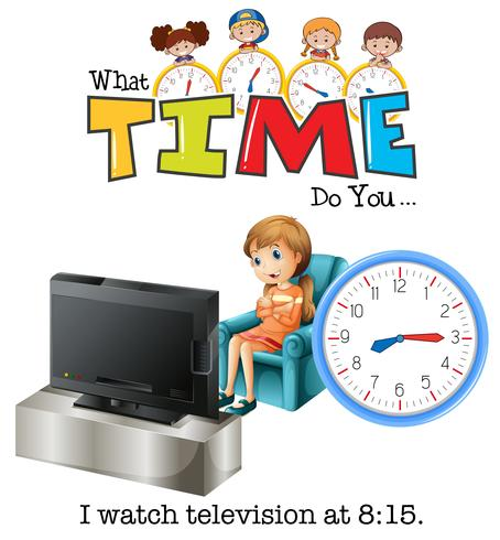 A girl wathing television at 8:15
