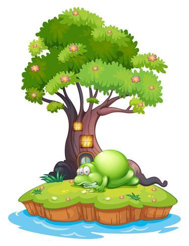 Un mostro che dorme sotto la casa sull'albero nell'isola