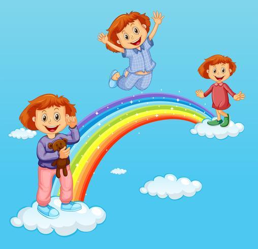 Tre tjejer över regnbågen