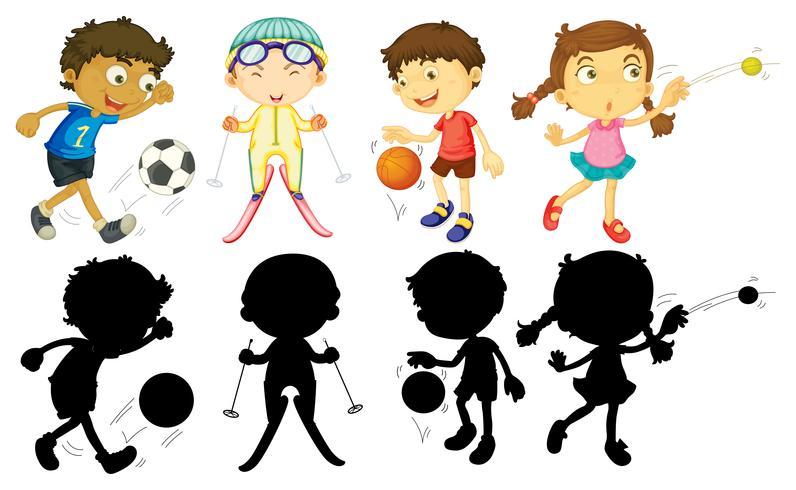 Miúdos que fazem esportes diferentes