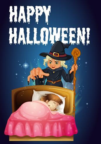 Eine Halloween-Vorlage mit einer Hexe