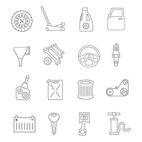 Conjunto de ícones de serviço de auto vetor