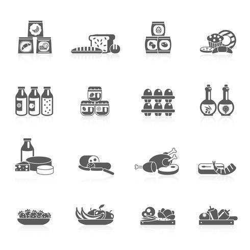 Supermarkt pictogrammen zwart