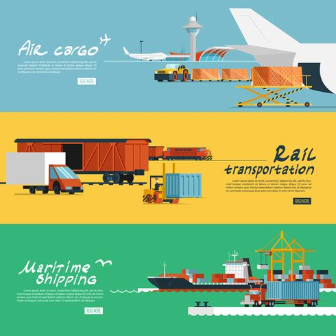 Logistics flat horizontal banners set vector