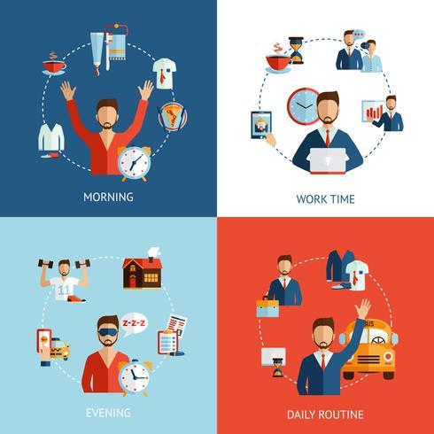 Icone piane di concetto di routine quotidiana dell'uomo d'affari