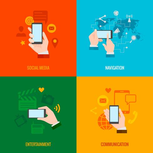 Hand smart phone flat icons composition